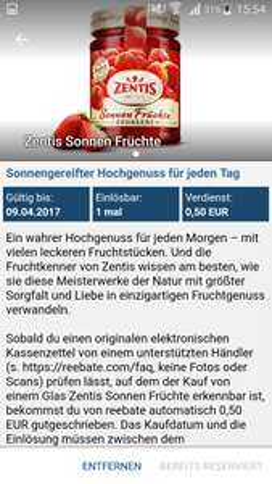 Zentis Sonnen Früchte - 0,50€ GEWINN durch REEBATE (und GZG Aktion)