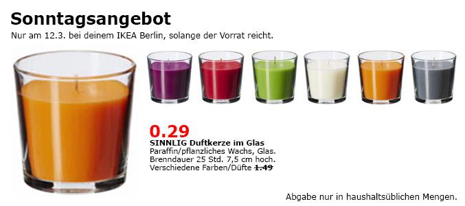 [Lokal] IKEA BERLIN - Sonntagsöffnung am 12.3.17 SINNLIG Kerzen statt 1.49 nur 0.29€
