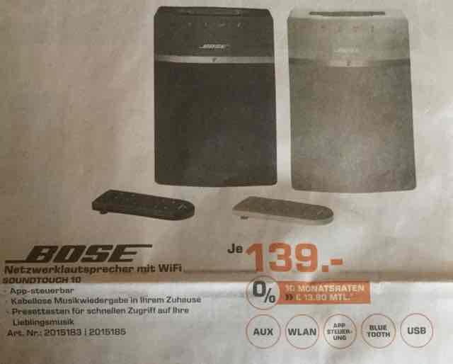 [Lokal Saturn Dortmund] Bose Soundtouch 10 für 139 €