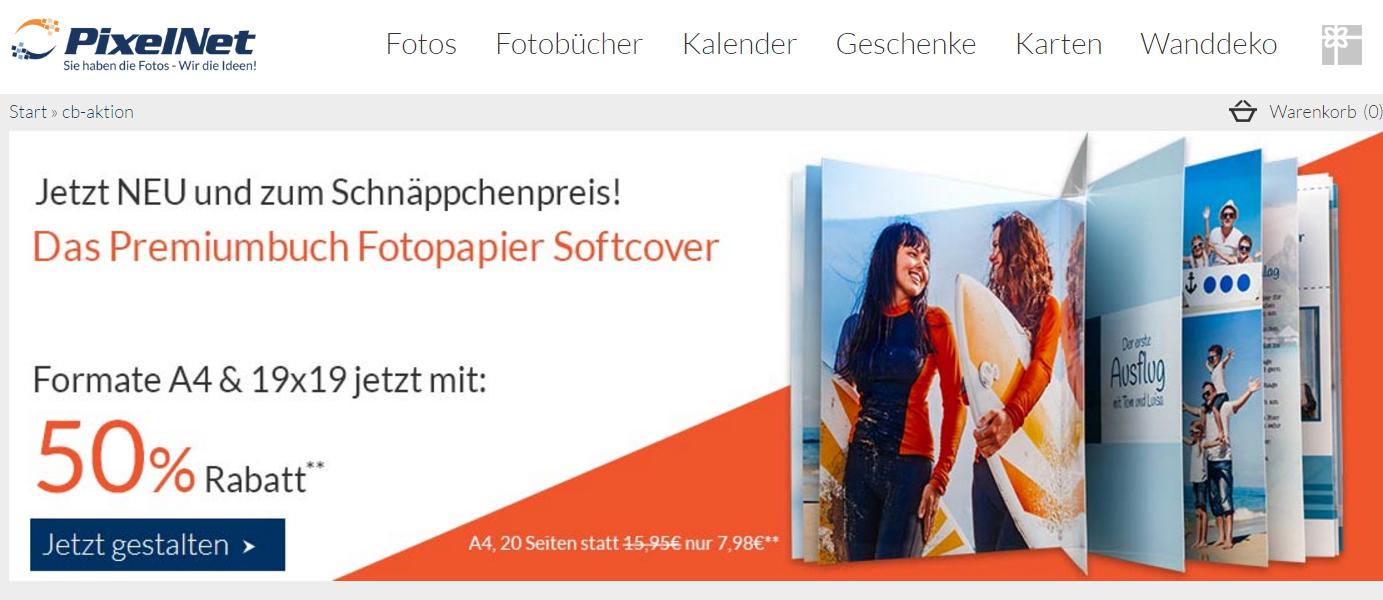 PixelNet Fotobuch Aktion: 50 % auf alle Softcover-Fotobücher