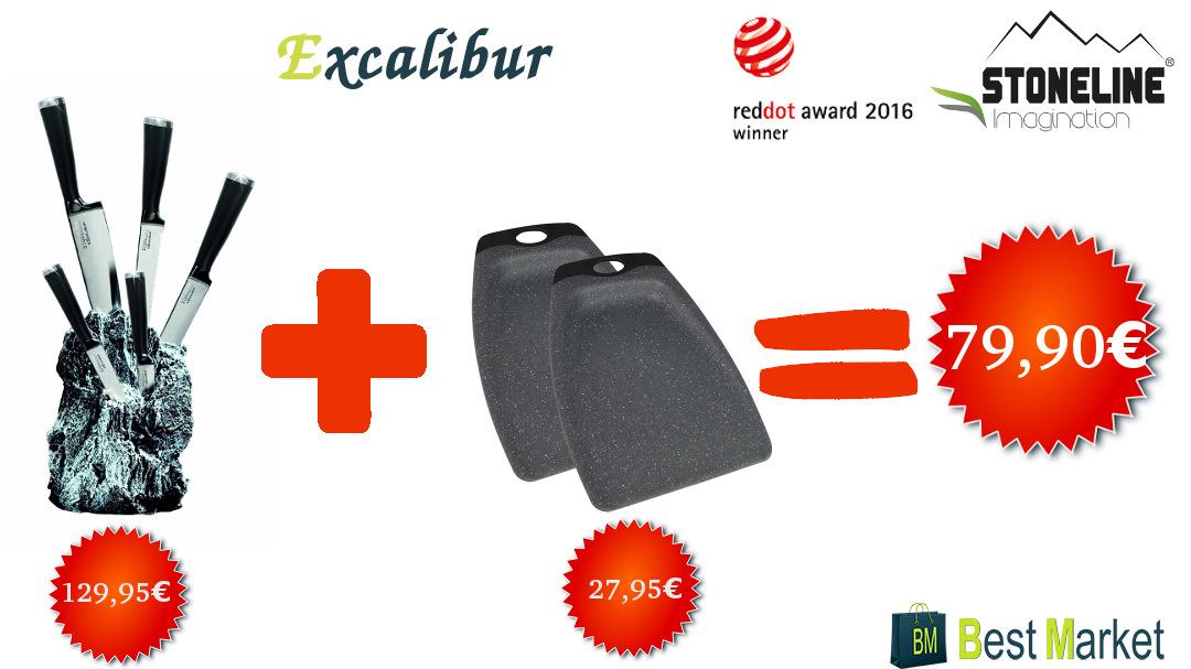 Stoneline Excalibur Messerblock + Schaufel-Schneidebrett-Set