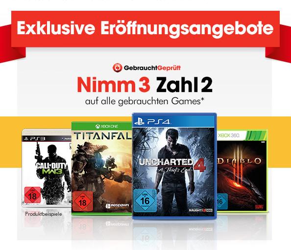 [lokal GameStop Berlin Gesundbrunnen] Nimm 3 zahl 2 auf gebrauchte Games