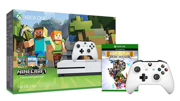 Microsoft Xbox One S Minecraft Bundle + Rare Replay + 2. Xbox One Wireless Controller für 253€ (Microsoft UK)