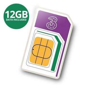 3 PAYG 4G Trio Data SIM Pack Preloaded with 12GB of Data for Mobile Broadband (3 Monate Gültigkeit)