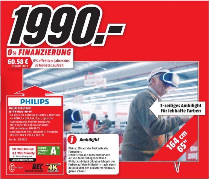 [Lokal Mediamarkt Zwickau] TV Philips 65PUS7601, Direct LED, Ambilight 3XL