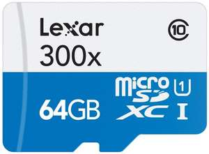 [Amazon Blitzangebote] Lexar 64GB microSDXC UHS-I 300x Speed (45MB/s) High Speed Flash Speicherkarte mit SD Adapter - LSDMI64GB1EU300A