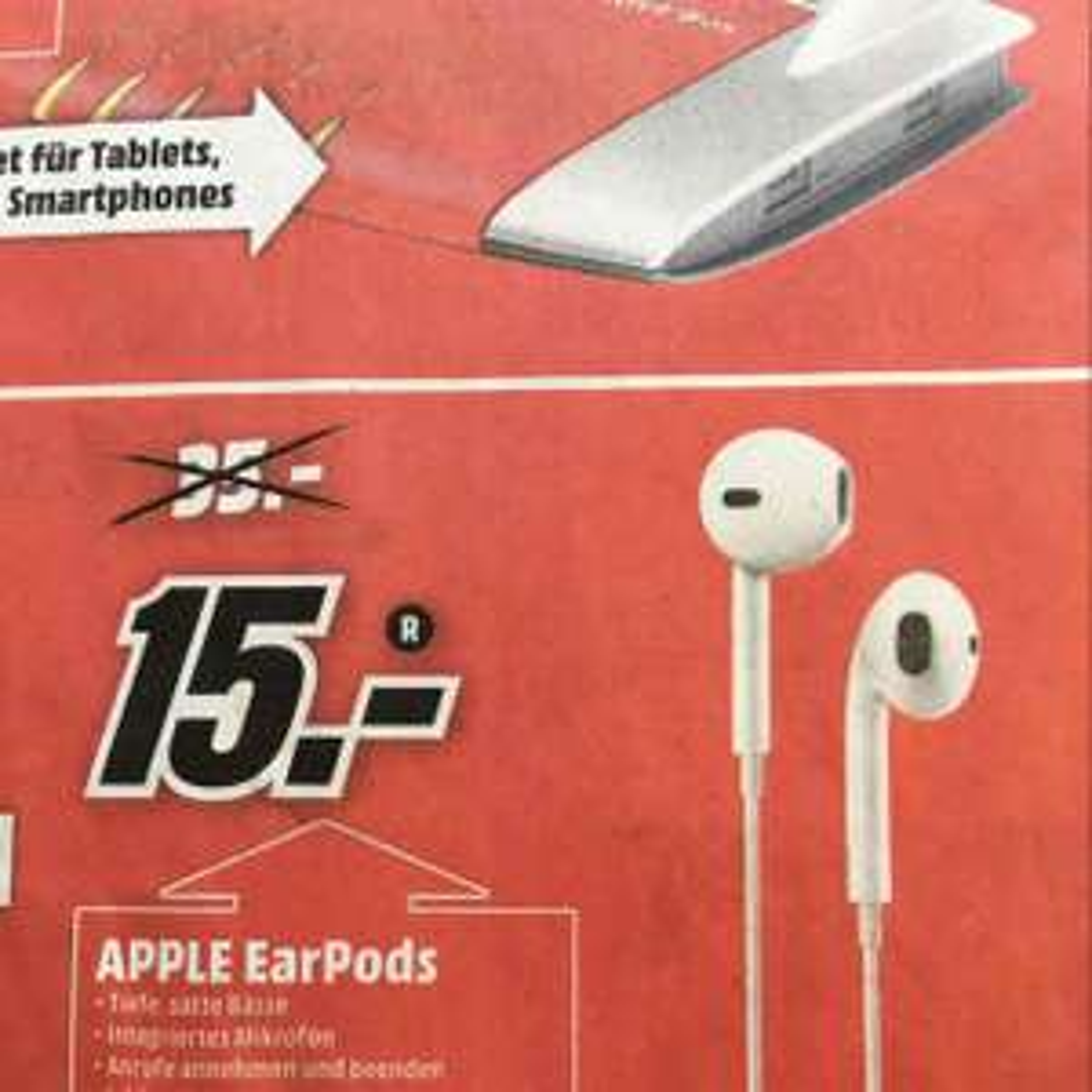 [Offline Lokal MM Cannstatter Carré] Apple EarPods mit 3,5 mm Kopfhörerstecker