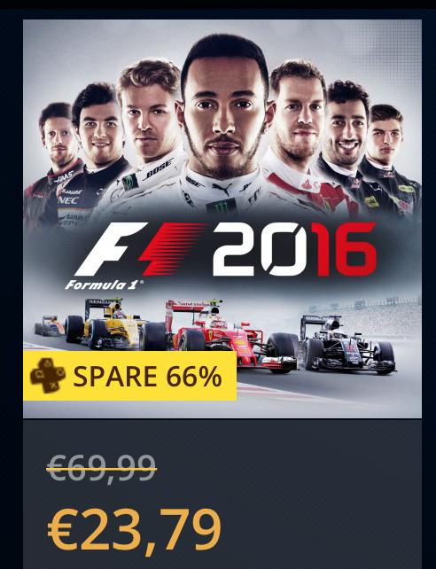 (PS4) F1 2016 Rennsimulation für Playstation PS+