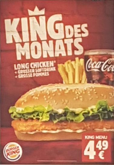 Long Chicken + Großer Softdrink + Große Pommes nur 4,49€ bei BurgerKing