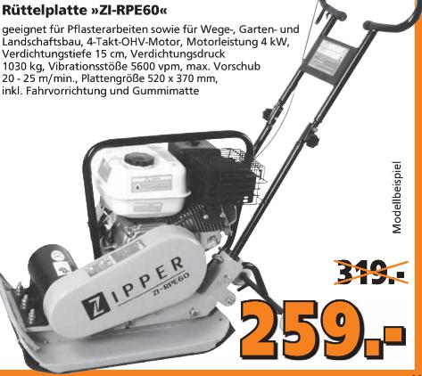 [Globus lokal] Rüttelplatte Zipper ZI-RPE60