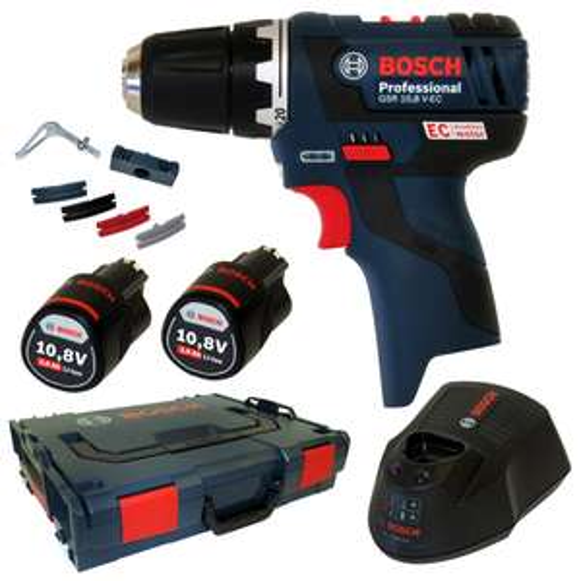 [Ebay] Bosch Akkuschrauber GSR 10,8 V-EC (GSR 12 V-20) + 2x 2,0Ah Akku + L-BOXX + Schnellladegerät für 136,99€ (131,51€ inkl. Payback)