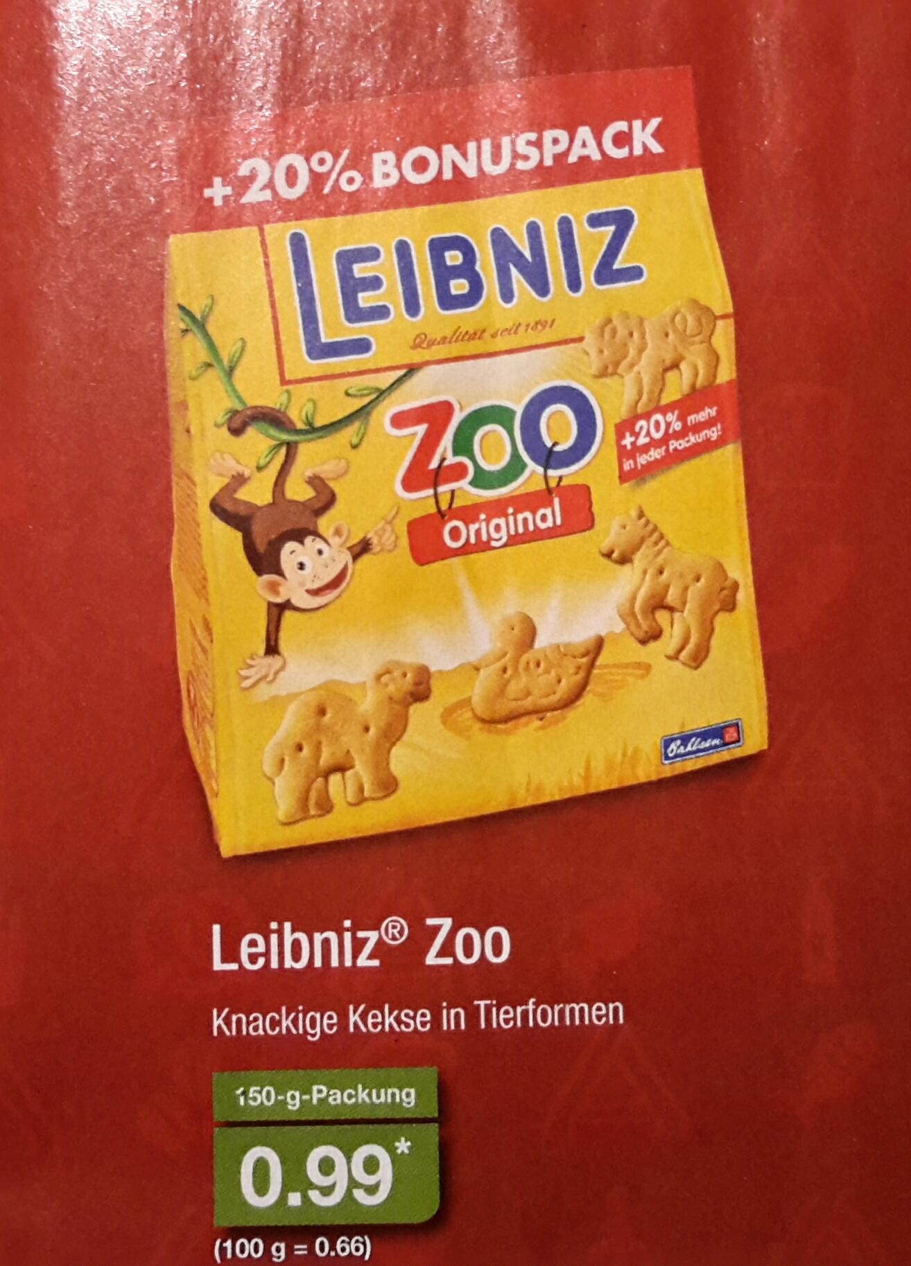 [Aldi Nord] Leibniz Zoo Butterkekse für 0,99 € für den 150 Gramm Bonuspack ab 17.03.2017