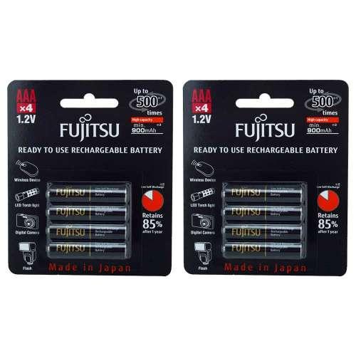 Wieder verfügbar: 8 x Fujitsu AAA HR03 NiMH-Akku (mindestens 900 mAh, typisch 950 mAh, 500 Zyklen, geringe Selbstentladung, Made in Japan) im 7dayshop für 12,16€