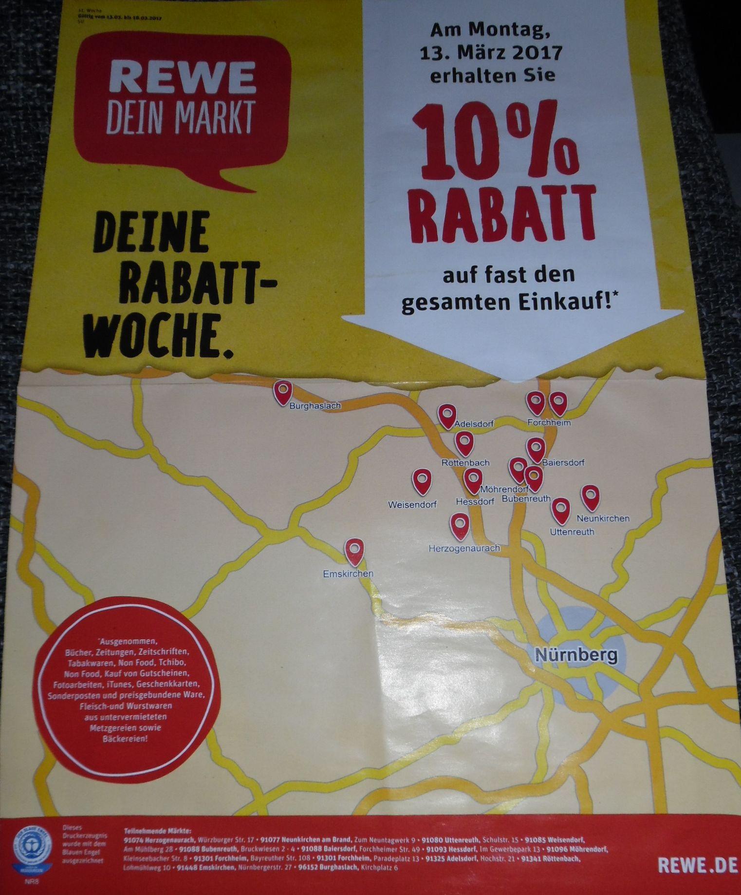 Lokal 10% Rabatt bei REWE im Landkreis Erlangen/Höchstadt und 10fach Payback möglich