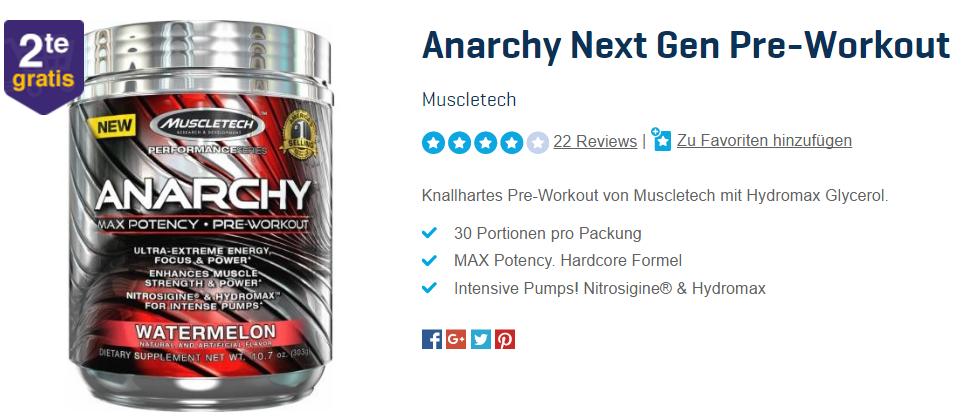 2 für 1 Aktion: Muscletech Anarchy Next Gen Pre-Workout BOOSTER
