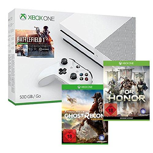 Xbox One S 500GB Battlefield 1 Bundle + Tom Clancy's: Ghost Recon Wildlands + For Honor [amazon.de]