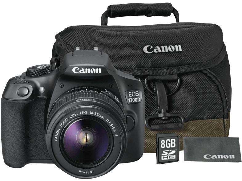EOS 1300 D Spiegelreflexkamera inkl. 18-55 mm Objektiv + Kameratasche 100EG + 8 GB Speicherkarte + 18-200 II VC + UV Filter
