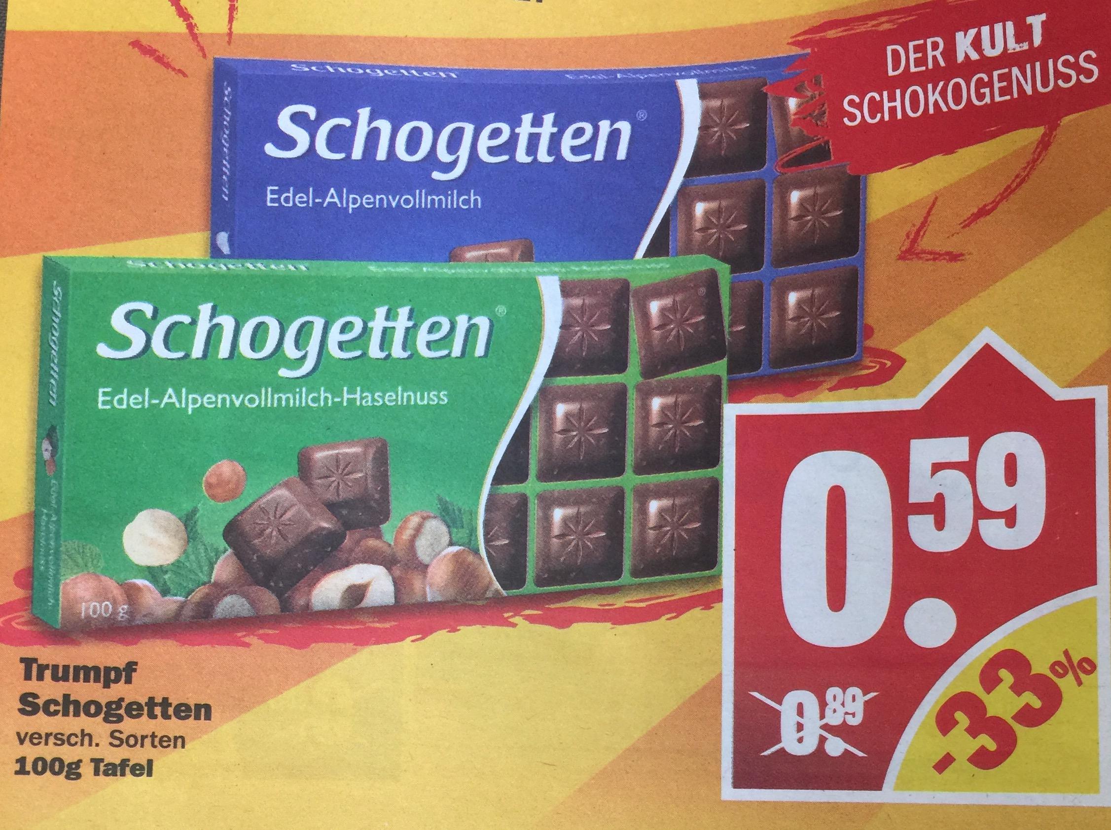 Schogetten Schokolade 100g für 0,59€ [NP]