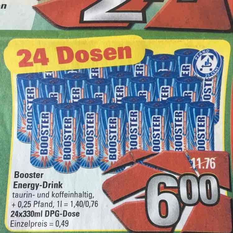 [Marktkauf] [Lokal] 24x Booster Energy Drink für 6.- + Pfand