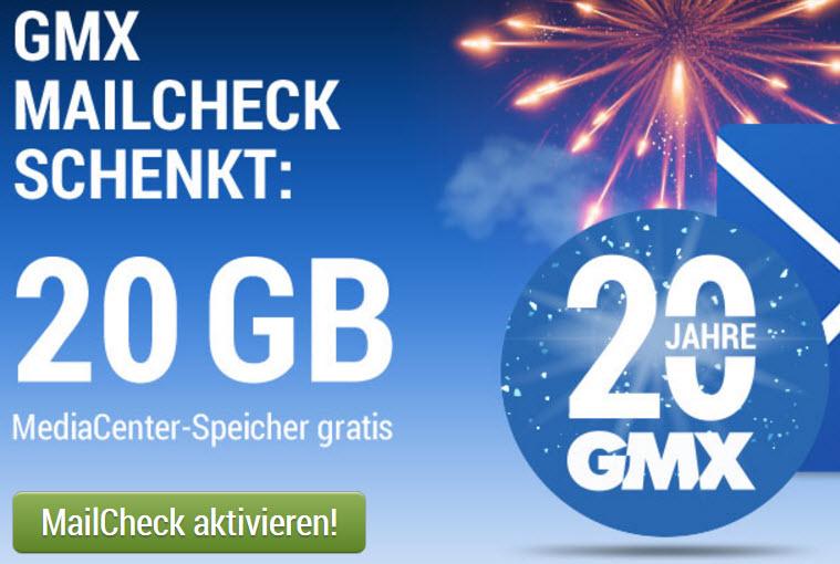 20 Jahre GMX: 20GB MediaCenter Speicherupgrade gratis (+ Emailpostfach Upgrade auf 1,5GB)