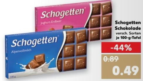 Schogetten Schokolade / 100gr Packung / versch. Sorten ab 0,49 € (Berlin sogar nur 0,44 €) @ Kaufland ab 16.03.17