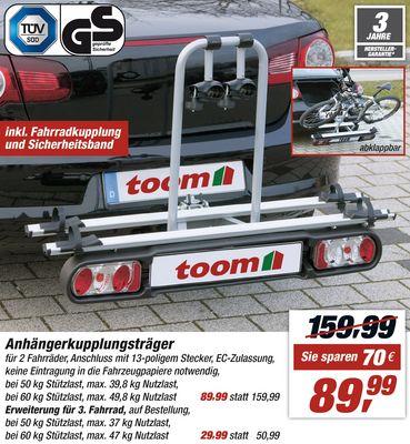 [Toom deutschlandweit, Online] klappbarer Fahrrad-Anhängerkupplungsträger f. 2 Räder 89,99€ statt 159,99
