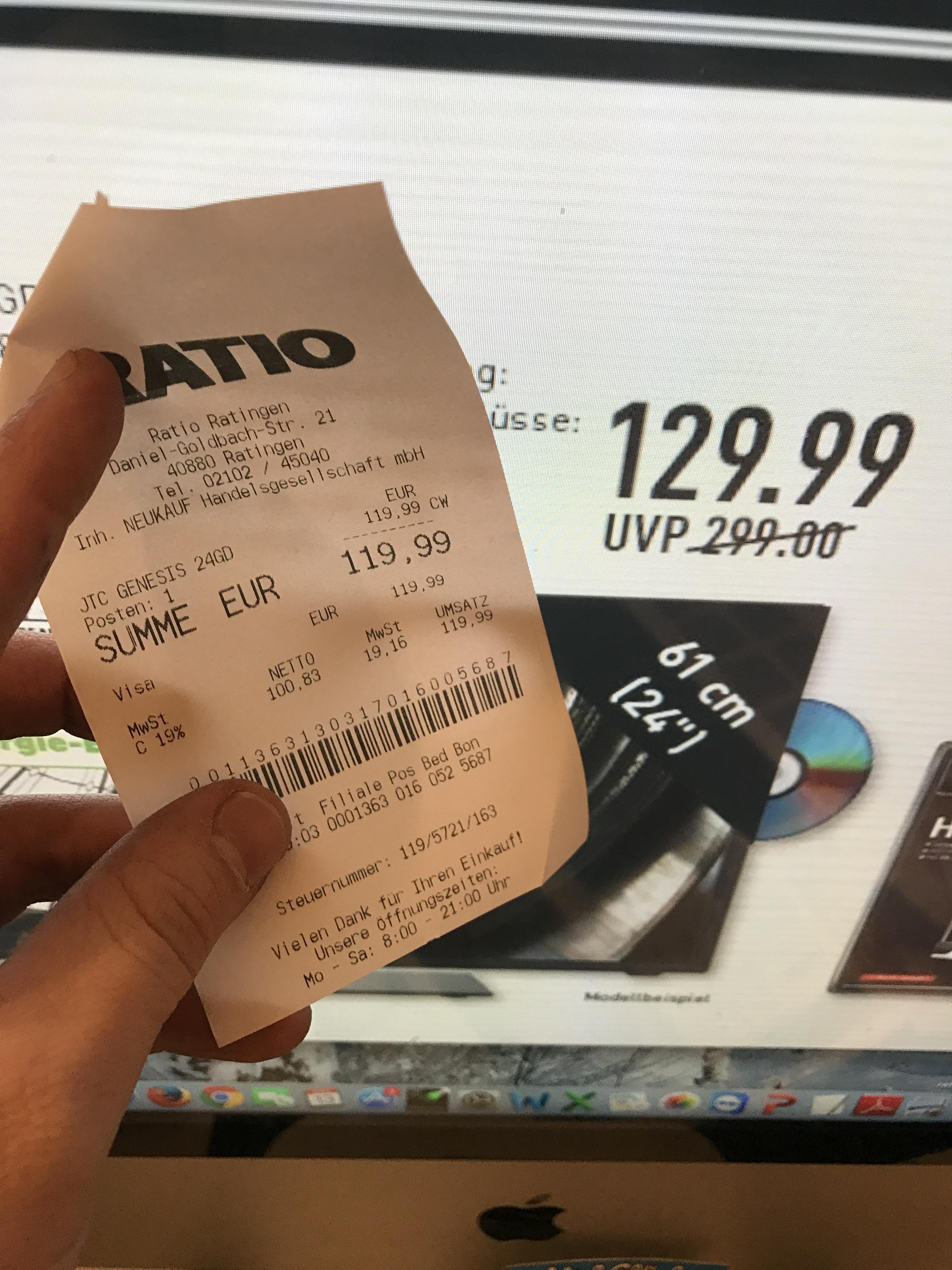 Lokal Ratingen? JTC GENESIS 24GD für 119,99 Euro bei Ratio (nicht Großmarkt)