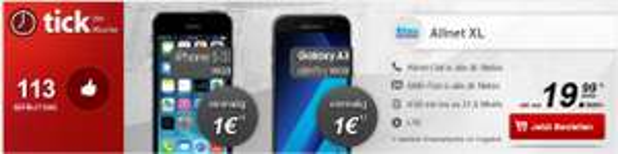 Blau Allnet XL/ Flat Tel & SMS/ 4GB 21,6 M/Bits LTE + Handy ab 1€ (z.B P9 lite, Samsung A3 2017) @[Handytick]