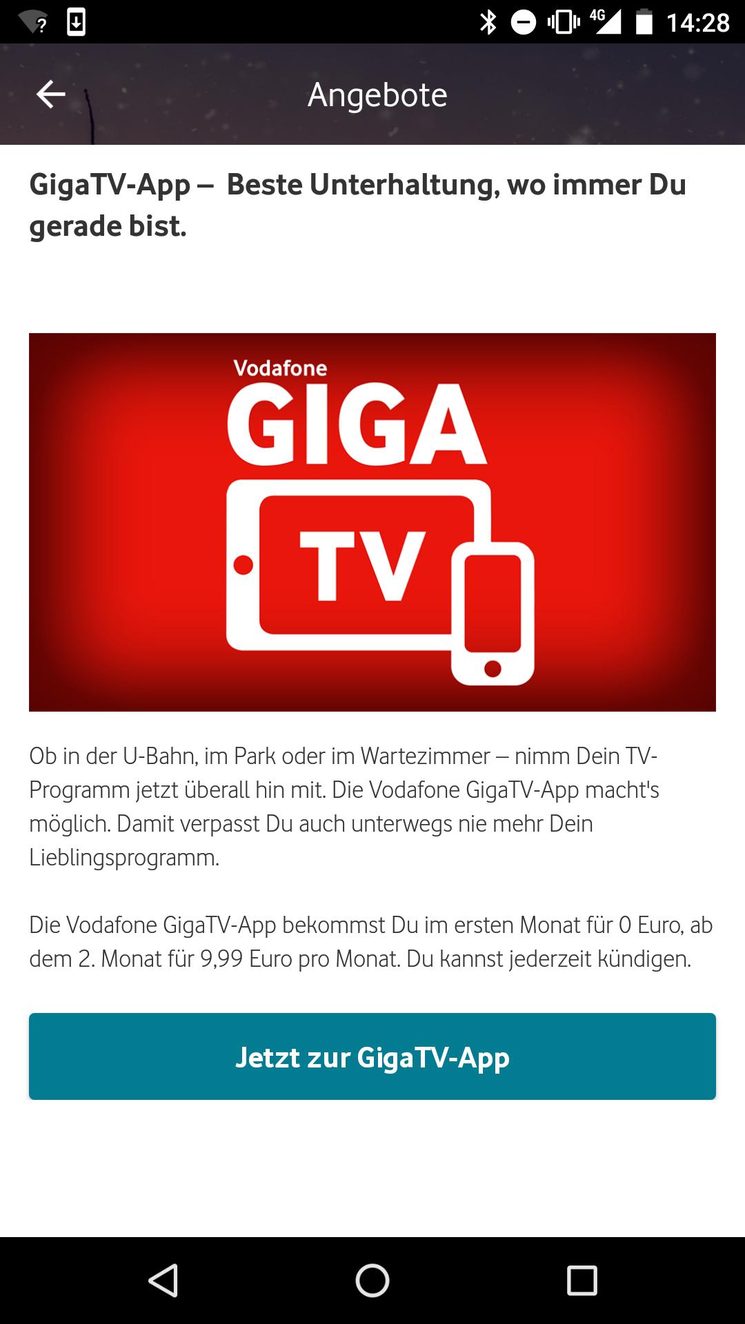 Vodafone GigaTV 1. Monat gratis (Kündigung notwendig)
