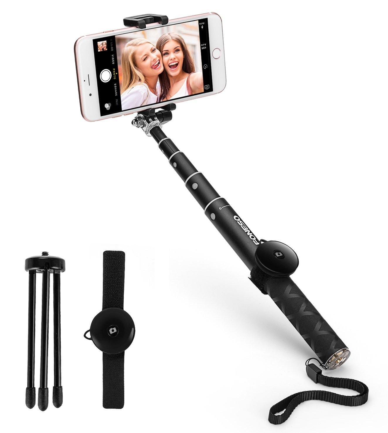 Amazon.de: Selfiestick und Stativ in einem mit Bluetooth Fernbedienung (für Handys und GoPro)