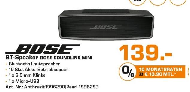 [Saturn Hilden] 4 Jahre zB Bose SoundLink Mini II 2 für 139,00€ Sonos Playbar 599,00€