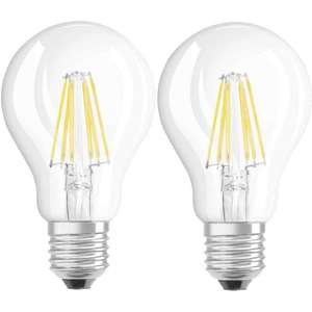 LED (einfarbig) OSRAM 230 V E27 6 W = 60 W Warmweiß EEK: A++ Glühlampenform (Ø x L) 60 mm x 105 mm Filament 2 St.