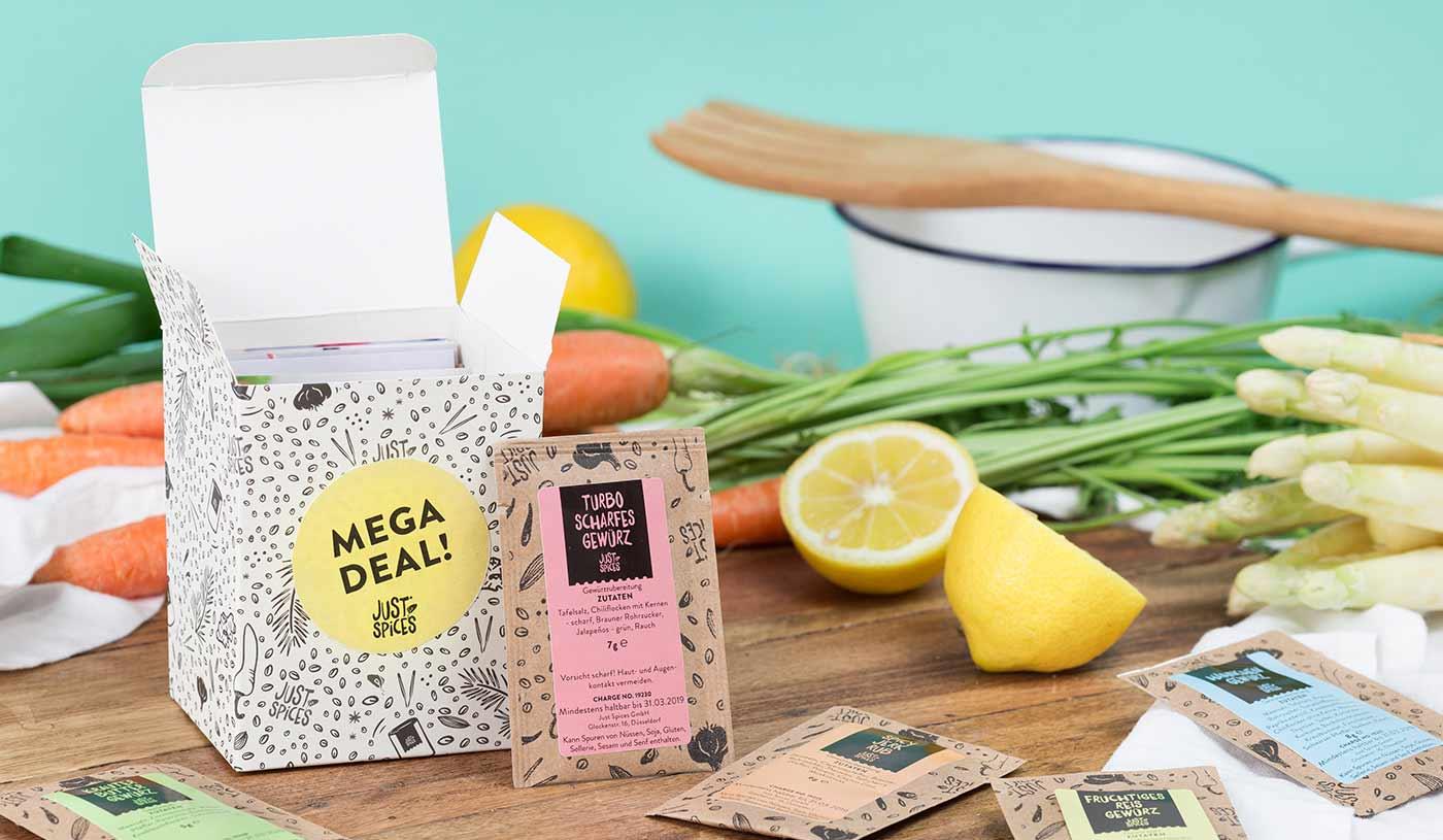 """Gratis Kennenlernbox mit 9 Gewürzen von """" Just Spices """" für Telekom Kunden - nur VSK i.H.v. 3,90€"""