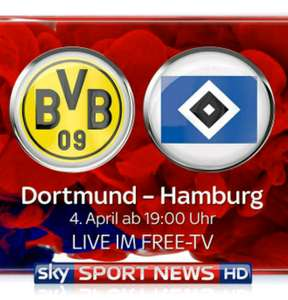 Bundesliga for free auf Sky Sport News HD - Borussia Dortmund vs. Hamburger SV am 4. April