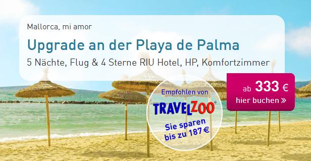 (ltur.com / travelzoo) 2 Personen 5 Nächte auf Mallorca: 4*RIU Hotel (91% HC) inkl. Halbpension, Flügen, Transfers, Zug zum Flug (ab 333€/Person // All Inkl. ab 399€/Person) // viele Termine & Flughäfen