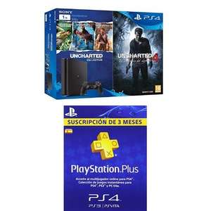 Sony PlayStation 4 1TB mit Uncharted Collection (1-3) und Uncharted 4: A Thief's End + 90 Tage PS+ für 300,82€ @ Amazon.es