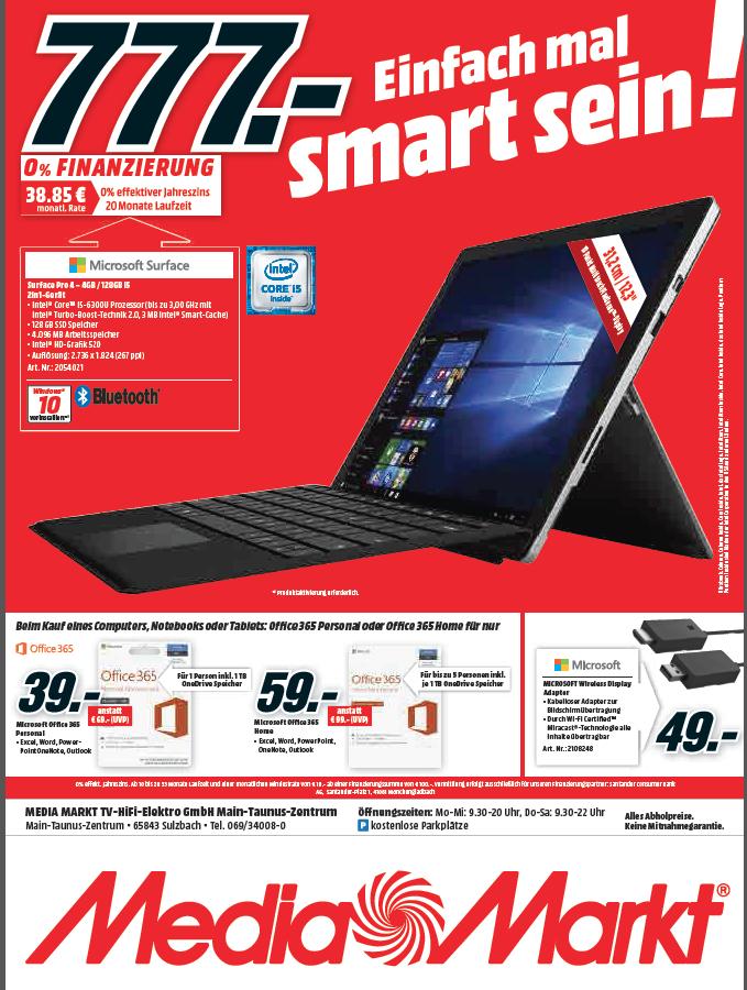 (Lokal) [MM Sulzbach] Surface Pro 4 128 GB I5 für 777,-