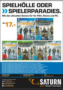 ​[Saturn Berlin/Potsdam] Tom Clancy's The Division oder  Assassins Creed Syndicate (PS4/XBOX/PC)