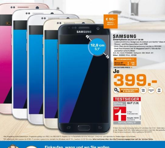 (Lokal) Samsung Galaxy S7 für 399€ @ Saturn Stuttgart & Esslingen