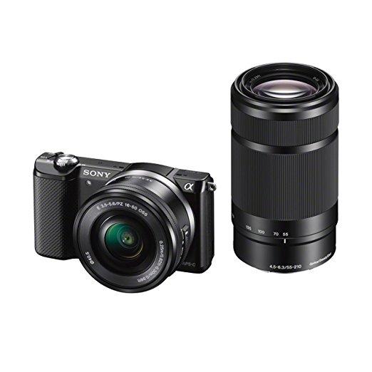 [amazon.es] Sony Alpha 5000 Systemkamera (Full HD, 20 Megapixel, Exmor APS-C HD CMOS Sensor, 3 Zoll Schwenkdisplay, NFC, WiFi) schwarz inklusive SEL-P1650 & SEL-55210 Objektiv  für 448€ statt 539€