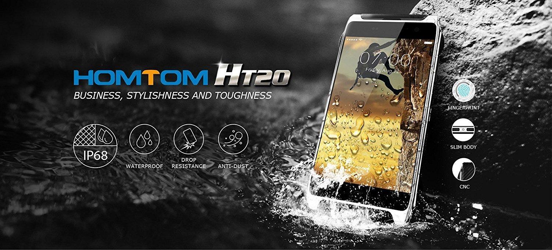 Haehne Homtom HT20 - 4,7 Zoll 4G HD Outdoor Smartphone,  IP68 Wasserdicht, Staubdicht, 3500mAh Akku, Android 6.0, Fingerabdrucksensor, 2GB RAM 16GB Speicher, Dual Kamera, Dual SIM