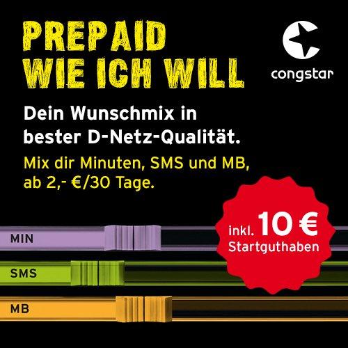 Congstar Prepaidkarte mit 10€ Startguthaben (PSN tauglich) für 6,52€ (Amazon Prime)