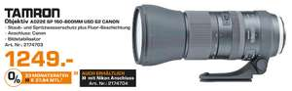 [SATURN LOKAL - Stuttgart & Esslingen] Tamron SP 150-600mm F/5-6.3 Di VC USD G2 für Canon