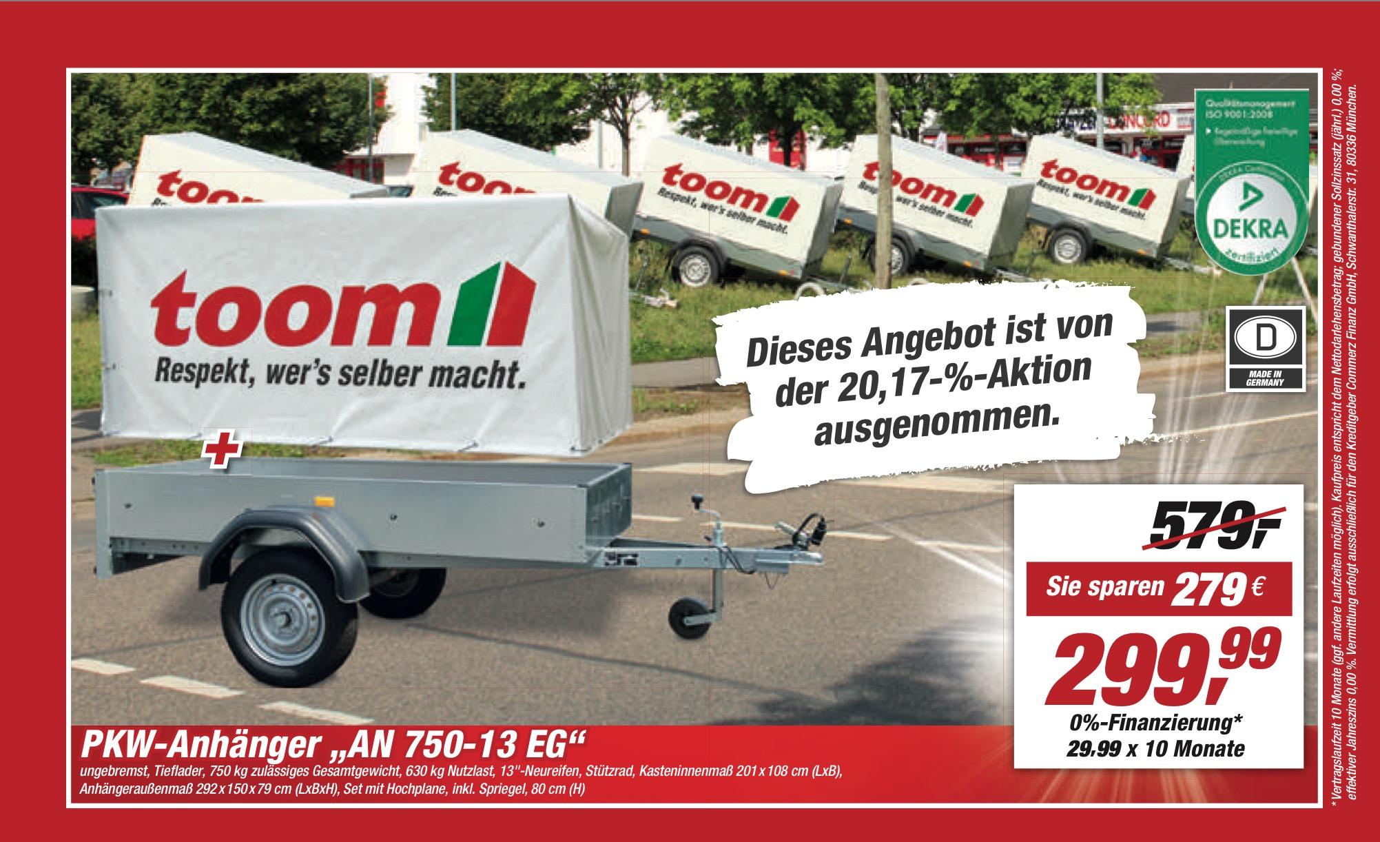 [Lokal Paderborn und Magdeburg] 750kg-Anhänger mit Plane und Spriegel - Der beliebte toom-Anhänger ist wieder da (20.-25.03.2017)
