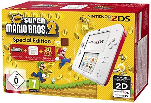 Nintendo 2DS - Konsole (weiß + rot) inkl. New Super Mario Bros. 2 (vorinstalliert) Amazon