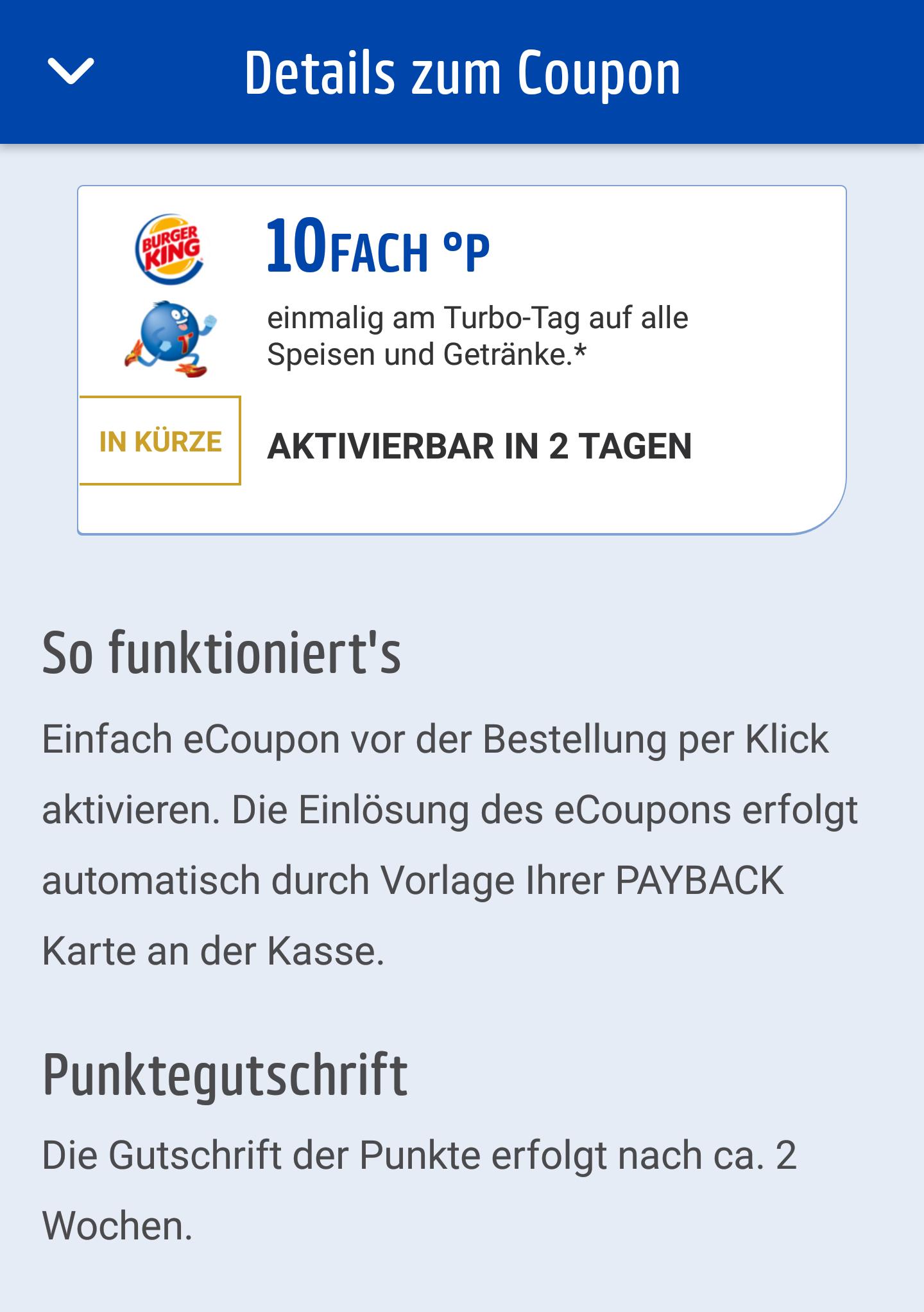 [Payback - Burger King] 10 Fach Punkte bei Burger King nur am 20.3 in der App aktivierbar