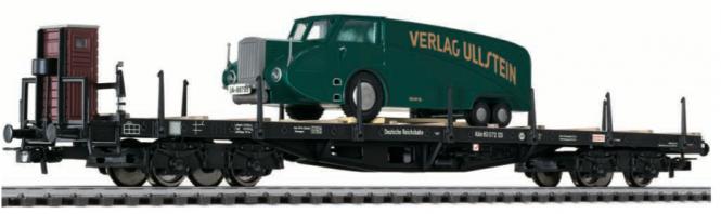 Modellbahn Liliput Flachwagen DR Ep.II mit Bremserhaus und Rumpler-LKW H0 DC Best.-Nr. Li235754 bei Modellbahnen Licht