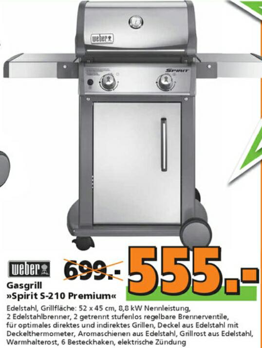 Weber S-210 premium Globus/ Bauhaus Tiefpreisgarantie 488,4€