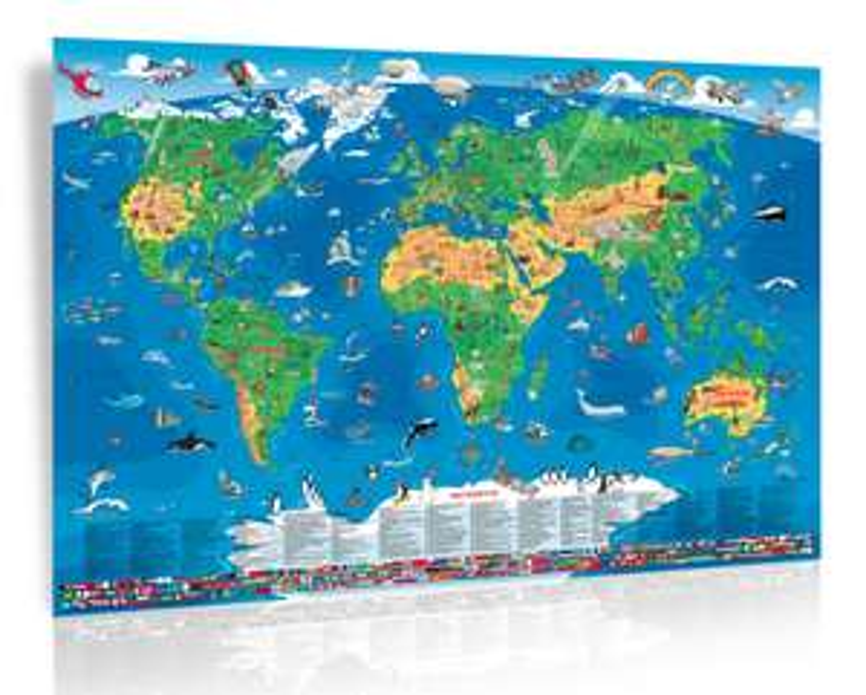Große, abwaschbare Kinderweltkarte (1,95 x 1,38m) für 5,97€ inkl. Versand statt knapp 13€
