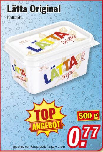 Zimmermann Sonderposten Lätta Margarine 500g für 0,77 € ab 20.03.2017